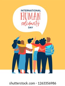 International Human Solidarity Day illustration of diverse friend group from different cultures hugging together for social help, global equality concept.