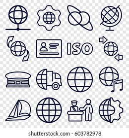 International icons set. set of 16 international outline icons such as pass control, passport, airport, qround the globe, ISO, globe in gear, globe, planet and satellite