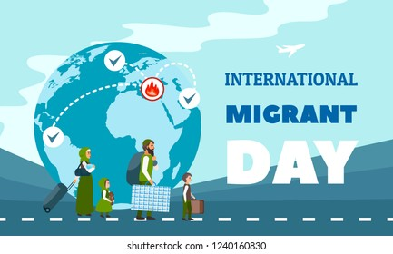 International immigration concept background. Flat illustration of international immigration vector concept background for web design