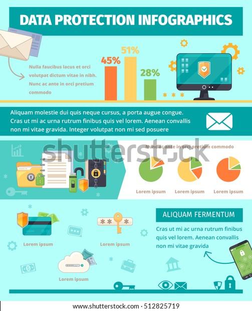 International Internet Security Framework Flat Infographic Stock