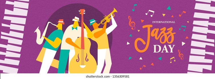 International Jazz Day banner illustration of live music band playing diverse musical instrument in concert or festival event.