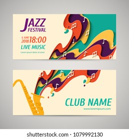 International Jazz Day - music paper cut style banners set for jazz festival or night blues retro party with saxophone and notes. Vector paper craft vintage music background