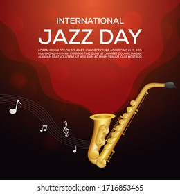 international jazz day with saxophone music concept banner
