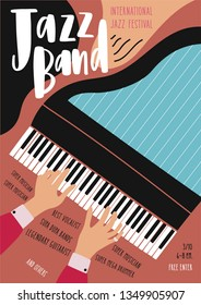 International jazz festival, concert, music performance advertisement poster or flyer template with pianist's hands playing grand piano and place for text. Modern vector illustration in flat style