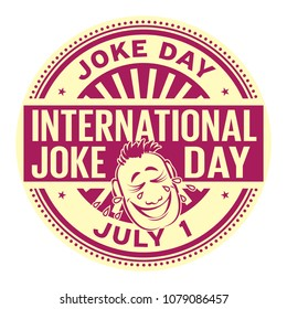 International Joke Day,  July 1, rubber stamp, vector Illustration
