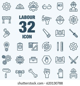 International Labor day and Industry tool icon set.Flat vector flat linear design.