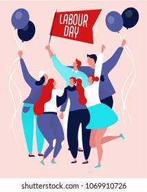 International labor day on may, happy workers jumping with text labour day
