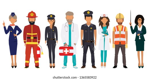 International Labor Day. People of different professions set on a white background. Stewardess, Fireman, Police, Doctor, Nurse, Builder, Teacher. Vector illustration in a flat style