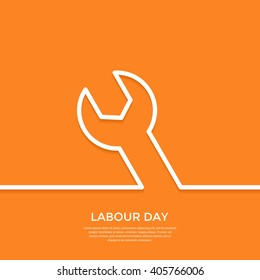 International labour day greeting card. Labour day minimal background with outline wrench. Flat vector illustration. EPS10.