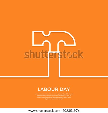 International labour day greeting card labour stock vector royalty international labour day greeting card labour day minimal background with outline hammer flat vector m4hsunfo