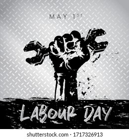 International labour day silhouette event design with silver metallic background