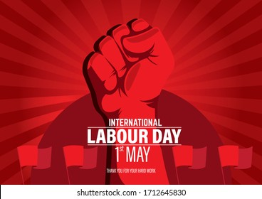 International Labour Day Vector Poster. Happy Labour Day 2020. 1st May Worker's Day. May 1st Labour Day with red flags, red hand and red background vector poster. Thank you for your hard work vector.