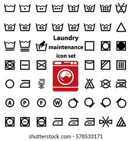International Laundry Washing And Maintenance Instructions Icon Set