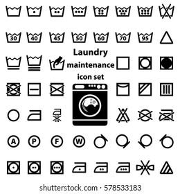 International Laundry Washing And Maintenance Instructions Icon Set