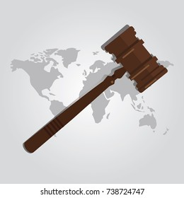 international law arbitration prosecution jurisdiction country world map wooden hammer gavel justice legal authority case verdict vector