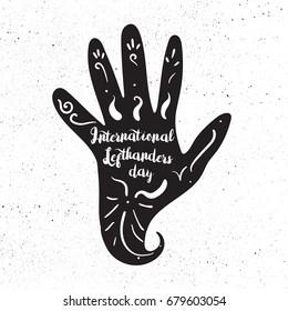 International Lefthanders Day Celebration Banner With Left Hand. Vector