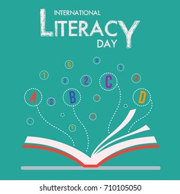 International Literacy Day with Book and Flying Alphabet Vector Illustration
