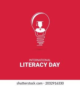 International Literacy day bulb concept poster design. 8 september