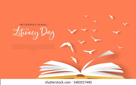 International Literacy Day greeting card template of open book with paper bird flock in modern papercut style. Cultural knowledge or reading imagination concept for education event.