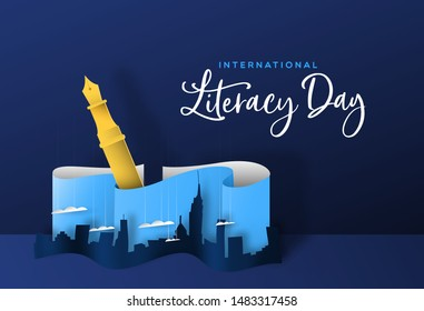 International literacy day greeting card illustration of papercut city skyline with fountain pen. Creative writing or imagination concept for education event.