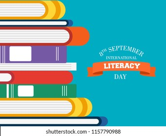 International Literacy Day illustration of book pile. Reading education concept, school learning for children worldwide. EPS10 vector.