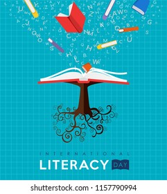 International Literacy Day illustration of book tree. Reading education concept, school learning for children worldwide. EPS10 vector.