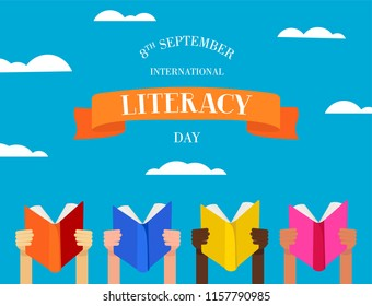 International Literacy Day illustration of children hands with education books and typography text. EPS10 vector.