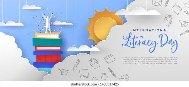 International literacy day illustration template. Happy man on top of book mountain in clouds. Modern papercut style concept for reading knowledge and culture event.