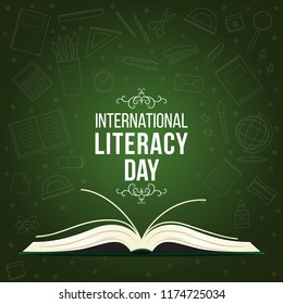 International Literacy Day post. 15th September Education concept vector illustration. Pile of books in colorful background.