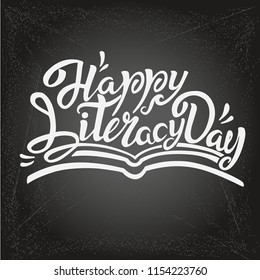 International Literacy Day Vector Lettering Card 2
