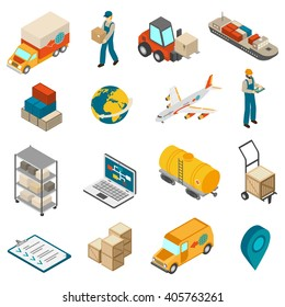 International logistic service symbols isometric icons set with world globe transport and delivery man abstract isolated vector illustration
