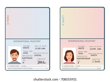 International male and female passports with signature, nationality name surname date of birth information and pictures of man and woman in flat style