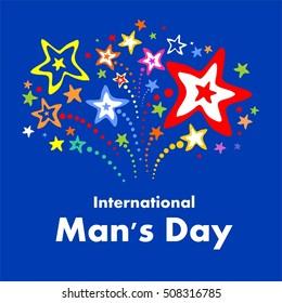 International Man's Day. Celebration card. Vector Illustration