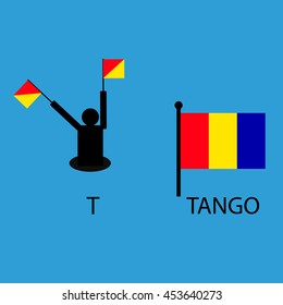 International marine signal flag, sea alphabet , vector illustration, semaphore, communication, tango.