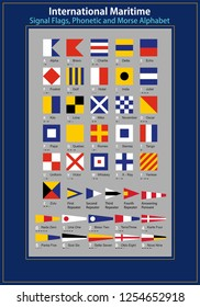 International Maritime Signal Flags, Phonetic and Morse Alphabet . Vector drawing related to maritime. The wall table can be used as ornament, flag, label, gift, boat decoration,