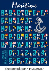 International Maritime Signal Flags, Phonetic and Morse Alphabet . Vector drawing related to maritime.