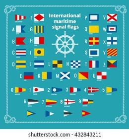 International maritime signal flags. Sea alphabet. Flat vector illustration