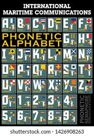 International Maritime Signal Flags, Semaphore, Phonetic and Morse Alphabet . Vector drawing related to maritime.