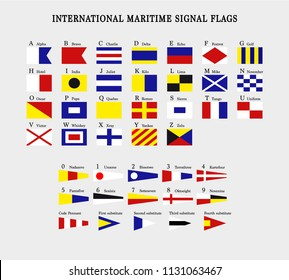 International maritime signal flags, Vector image and icon
