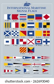 International maritime signal flags, vector illustration