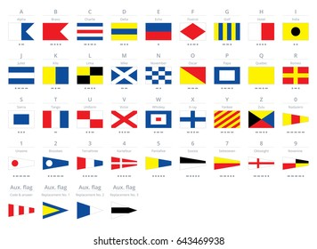 International maritime signal nautical flags, morse alphabet isolated on white background