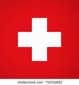 International medical sign. White cross on red background