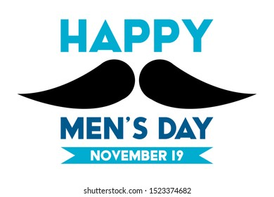 International Men's Day Design Vector. Сelebrate annual in November. Mars symbol and mustache. Gender symbol. Background, poster, greeting card, banner design. Vector EPS 10
