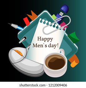International men's day. Illustration with a diary, a computer mouse, a cup of coffee and a piece of paper attached to a clip, from a notebook, with the inscription. Gradient background.