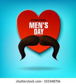 International Men's Day. Men's mustache. Heart. Vector illustration