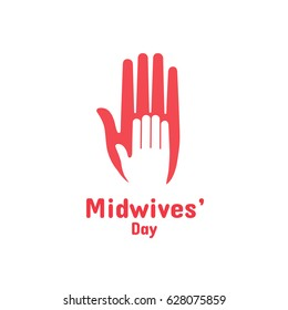 International Midwives Day, May 5. Vector design element. Hand of child lying on woman's hand. Symbol of midwive and newborn baby