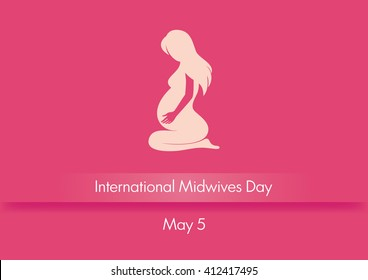 International Midwives Day vector. Pink background with pregnant woman. Silhouette of a pregnant woman sitting