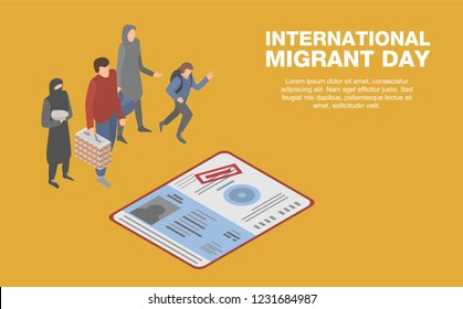 International migrant day concept background. Isometric illustration of international migrant day vector concept background for web design