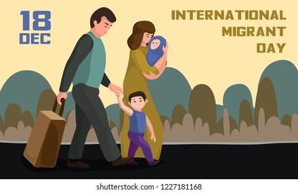 International migrant day concept banner. Cartoon illustration of international migrant day vector concept banner for web design