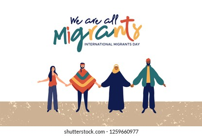 International Migrants Day background illustration, diverse people group from different cultures together for globla migration or refugee help concept.
